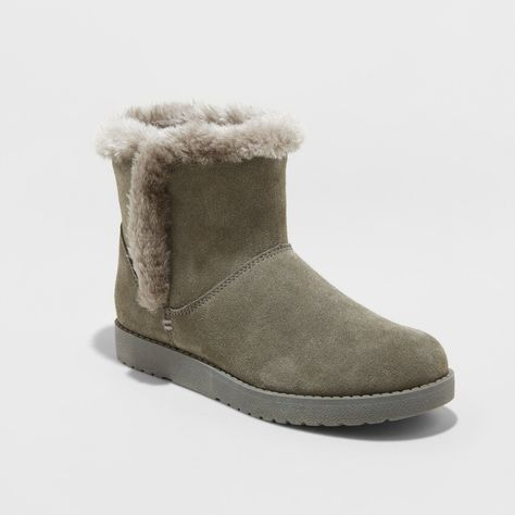 e282ca5a36a0 Women s Bellina Wide Width Suede Short Winter Boots - Universal Thread Gray  10W