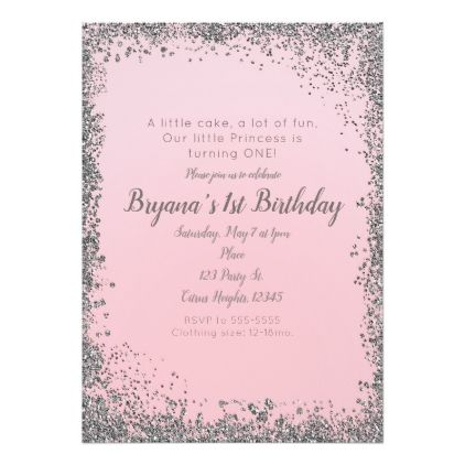 Blush Pink Silver Glitter Glam 1ST Birthday Party Card - glitter ...