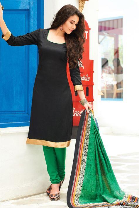 Banarasi Silk Plain Black Unstitched Churidar Suit - 1012 at Rs 779
