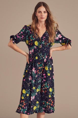 46979abc0b4 Buy Navy Floral Button Through Tea Dress from Next Australia ...