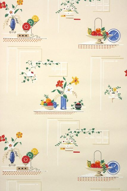 50s Vintage Kitchen Wallpaper