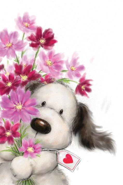 Dog with Flowers I Art Print by MAKIKO | iCanvas Happy Birthday Messages, Happy Birthday Greetings, Birthday Cards, Funny Happy Birthday Images, Cute Images, Cute Pictures, Tatty Teddy, Whimsical Art, Cute Drawings