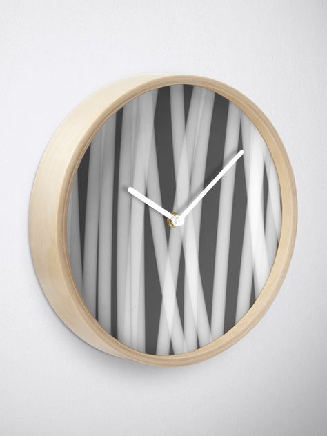 Urban Minimalist Industrial Monochrome Abstract Reed Closeup In White On Grey Clock Clock Quartz Clock Mechanism Cute Clock