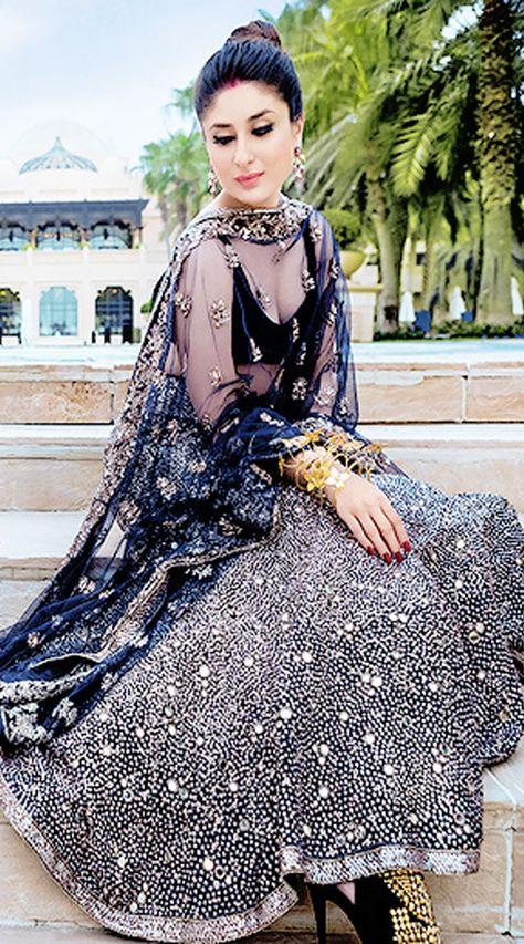 Bollywood Star Kareena Kapoor Dark Blue Net Replica Lehenga Choli - IndiaBazaarOnline Shopping Store on We Heart It
