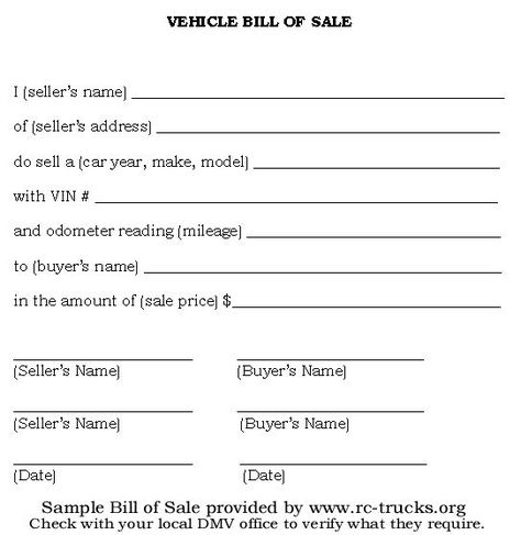Printable Sample Bill of sale camper Form Legal Forms Online - sample car bill of sale