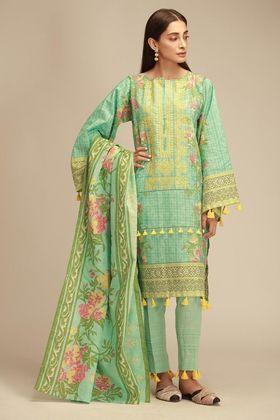 Khaadi 3 Piece Custom Stitched Suit - Green - KB18405