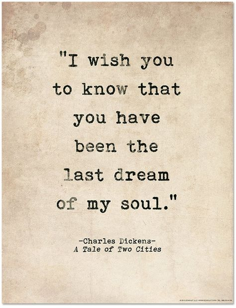 Romantic Quote Poster. Last Dream of My Soul Tale of Two | Etsy