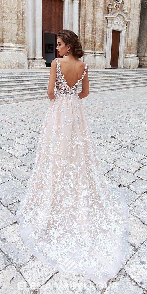 36 Absolutely Gorgeous Destination Wedding Dresses ❤ destination wedding dresses a line v back blush with floral elena vasylkova #weddingforward #wedding #bride