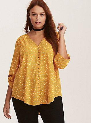 22481ac3f73ff Marigold Yellow & White Dot Print Georgette Button Front Blouse ...
