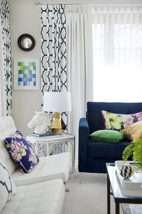 Navy and White Living Room - Adore Home Magazine