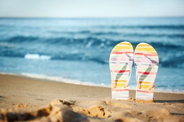 Stylish Flip Flops On Sand Near Sea Space For Text Beach Accessories Sponsored Flops Sand Styli In 2020 Stylish Flip Flops Beach Accessories Accessories Buy