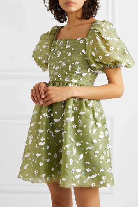 Green + NET SUSTAIN Monika sequin-embellished silk-chiffon mini dress | Stine Goya