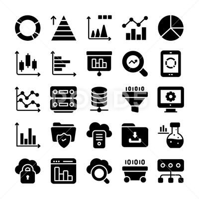 Data Analytics And Charts Solid Icons Pack Stock Illustration Ad