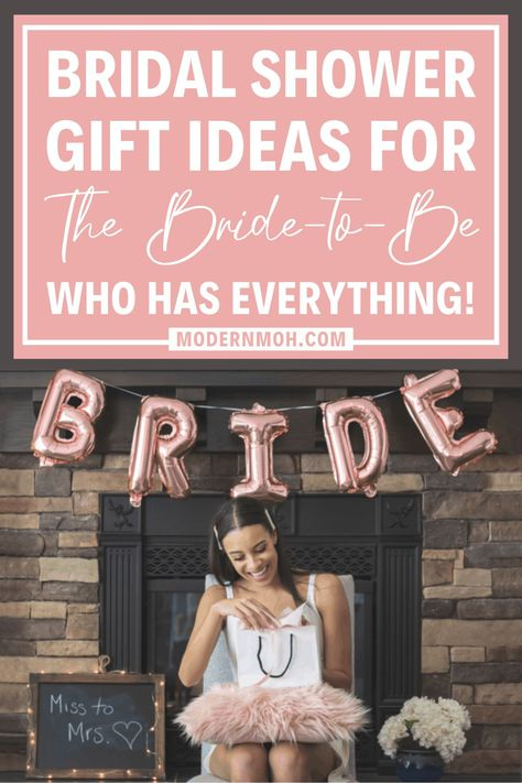 28 bridal shower gift ideas for the bride who already has everything she needs. These unique ideas are guaranteed to be one-of-a-kind! #bridalshowergifts #bridalshowergiftideas #uniquebridalshowergifts #ModernMOH