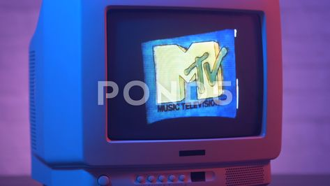 MTV Channel 80s 90s Style on Vintage CRT TV Screen Retro Television Stock Footage #AD ,#Style#Vintage#MTV#Channel