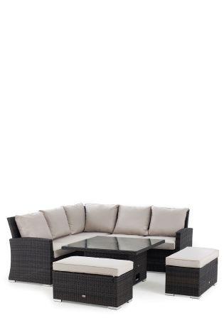 Buy Monaco Brown Slim Living And Dining Table Garden Set From The Next Uk Online Shop Garden Sofa Set Sofa Set Rattan Corner Sofa