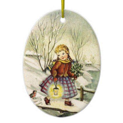 Buon Natale Ornament.Vintage Italian Merry Christmas Buon Natale Girl Ceramic Ornament