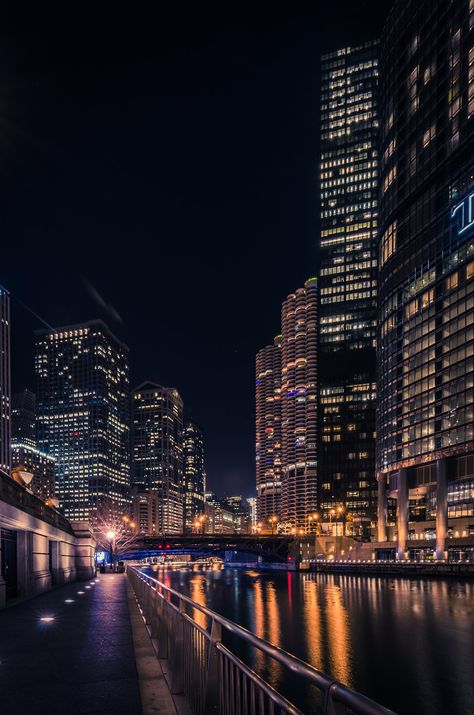 Chicago Riverwalk by Andres Marin on Chicago Photography, Urban Photography, Nature Photography, Night Aesthetic, City Aesthetic, City Landscape, Urban Landscape, Chicago At Night, Chicago Chicago