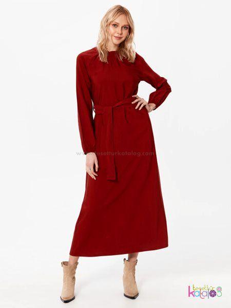 Kusakli Viskon Elbise Bordo Tesettur Hijab Tesetturelbise Uzunelbise Lcwelbise Lcw Lcwaikiki Hijab 2020 Elbise Uzun Elbise
