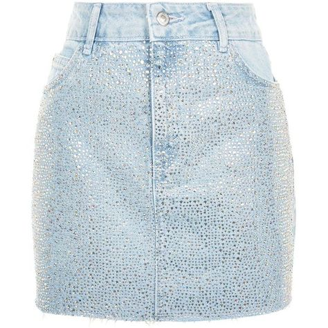 118dee4ab Topshop Diamante Denim Skirt (3.170 RUB) ❤ liked on Polyvore featuring  skirts, topshop, knee length denim skirt, blue denim skirt, blue bandeau  bikini top, ...