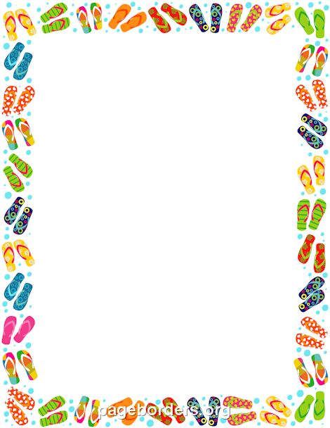 Printable flip flop border Free GIF, JPG, PDF, and PNG downloads - downloadable page borders for microsoft word