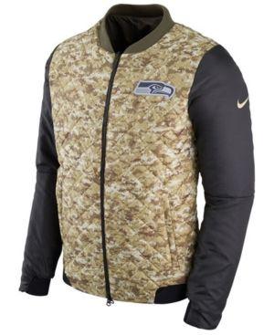 Nike Men s Seattle Seahawks Salute To Service Bomber Jacket - Green ... 41f01b050
