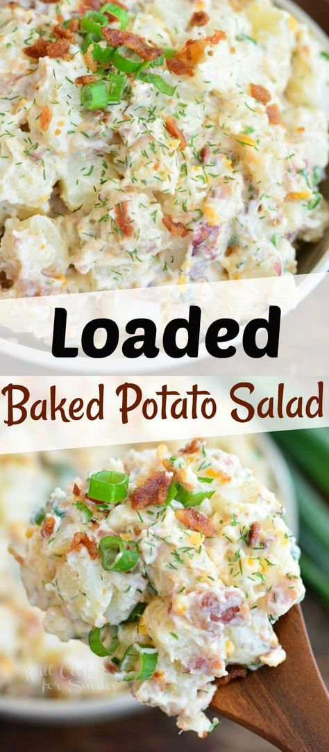 Loaded Baked Potato Salad - Tastes Just Like Baked Potato! - Loaded Baked Potato Salad is fun version of a classic potato salad has all the fun flavors of a loa - Barbecue Sides, Barbecue Side Dishes, Cookout Side Dishes, Potato Recipes, Vegetable Recipes, Best Potato Salad Recipe, Loaded Baked Potato Salad, Potato Salad Bacon, Paula Deen Potato Salad