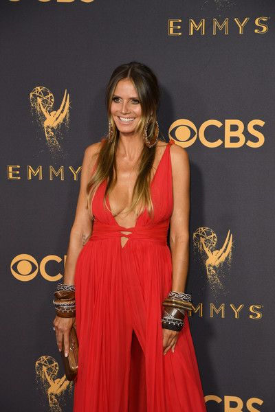 Heidi Klum arrives for the 69th Emmy Awards at the Microsoft Theatre.