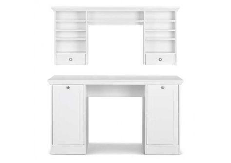 Schreibtisch Weiss Mit Aufsatz 2 Turen Und 2 Einlegeboden Aufsatz 2 Schubkasten 6 Schmale Und 1 Breiter Einlegeboden Masse B H T Ca 136