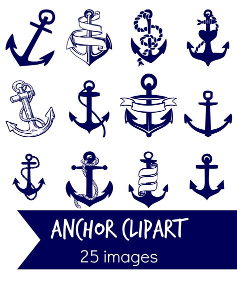 Anchor clip art   25 Navy blue ANCHOR clip art images - Instant download digital clip art - 25 high resolution anchors