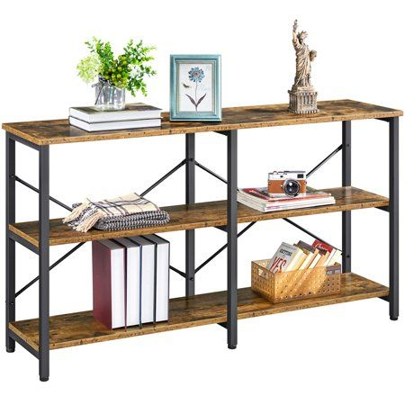 Smilemart 3 Tiers Industrial Console Table Storage Rack For Entryway Living Room Kitchen Rustic Brown Walmart Com Console Table Hallway Living Room Table Console Table Living Room