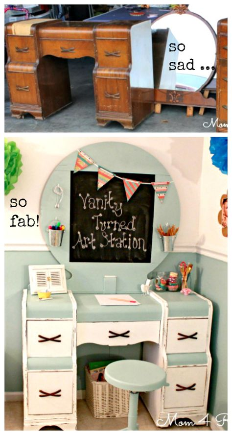 neat idea to replace a broken mirror. DIY::Kid's Art Station from a Roadside Vanity ! I think it would be a -just as cute- Adult craft station! Tutorial by Mom 4 Real Kids Art Station, Craft Station, Repurposed Furniture, Painted Furniture, Distressed Furniture, Furniture Makeover, Diy Furniture, College Furniture, Unusual Furniture