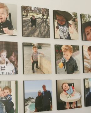 Order stickable photo board tiles from your phone! 😍 Delivered ready-to-decorate right from the box 📦 🙌 #layout #ideas #photos #printables #diy #hallway #grid #family #canvas #prints #modern #decor #home