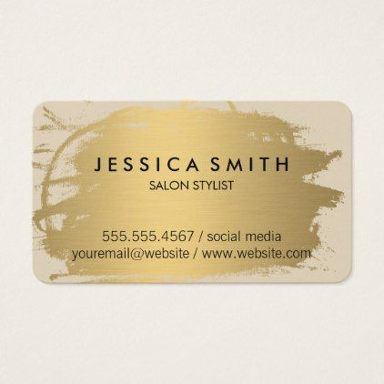 Elegant Faux Metallic Gold And Beige Business Card Office Gifts Giftideas Business Beige Business Card Hairstylist Business Cards Metal Business Cards