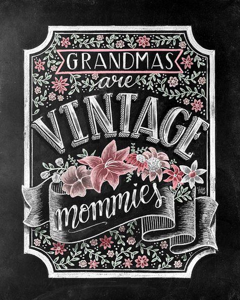 Grandma To Be Chalk Art Grandma Gift Chalkboard Art