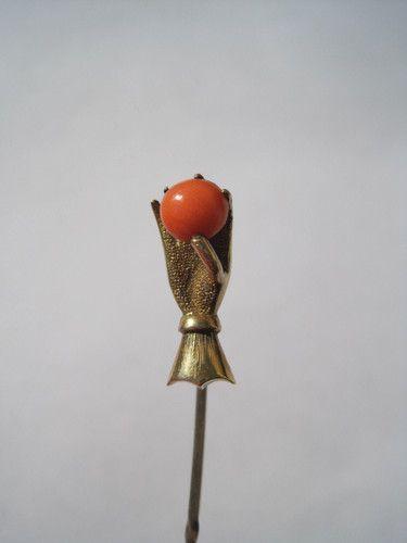 Antique Hand Holding Orange Coral Stickpin Art Nouveau
