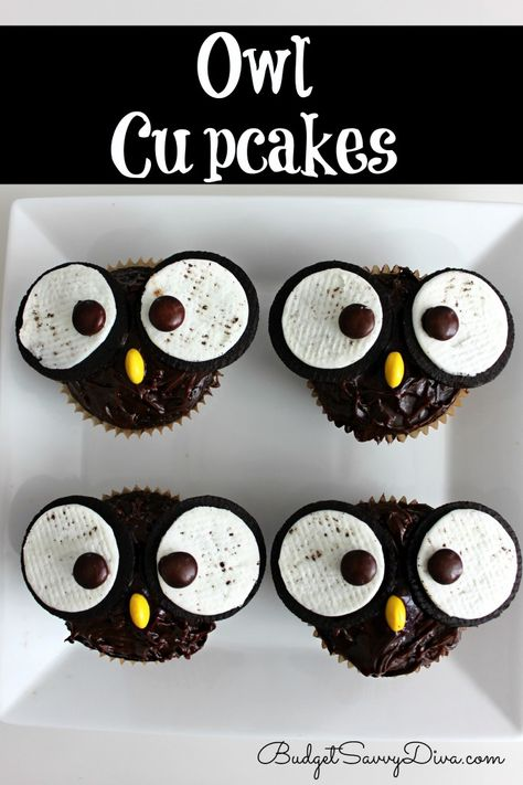 Budget Savvy Diva has some friendly looking owl cupcakes. Owls have been trending a lot, so why should Halloween be any exception? Don't worry, these cupcakes are surprisingly easy to make! Halloween Desserts, Halloween Cupcakes, Halloween Treats, Easy Halloween, Halloween Party, Owl Cupcakes, Cupcake Cookies, Oreo Cookies, Brownie Cupcakes