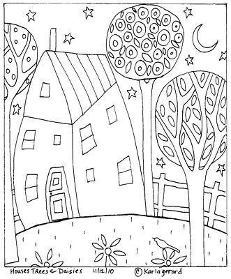 Teppichhaken Papier Muster Haus Baum Ganseblumchen Volkskunst Karlag Rug Hooking Hausbaumganseblumchenvol Umrisszeichnungen Musterpapier Papierstickerei