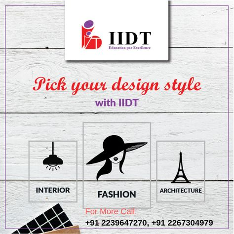 Admission Open For Government Courses Bsc Msc Mba Fashion Designing And Interior Designingwww Iidt Co Fashion Designing Course Fashion Design Planner Design