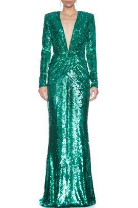 Yesil V Yaka Uzun Kol Elbise 2020 Elbise Couture Yesil
