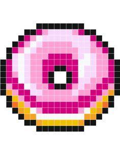 Beignet Rose Stickers Muraux Grille Pixel Art Pixel Art
