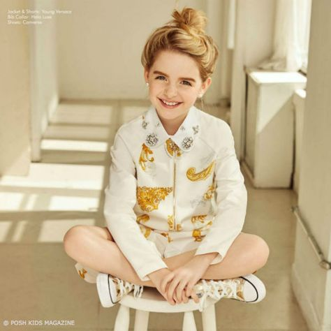 0463dcbdb Mckenna Grace Young Versace White Gold Outfit Posh Kids Magazine May June  2018