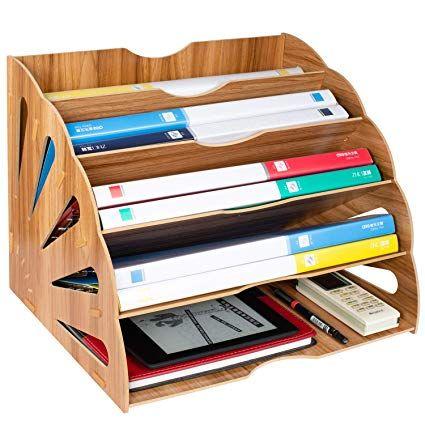 Tonsmile Organisateur De Fichiers Trieur En Bois Classement Papier Bureau Rangement Pour Papier A4 Magazine Et Do Rangement Papier Rangement Rangement Bureau