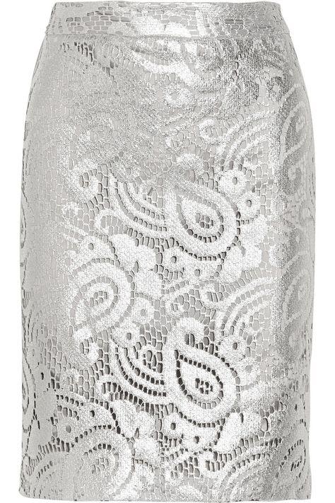 Moschino Cheap and Chic|Metallic cotton-blend lace pencil skirt|NET-A-PORTER.COM