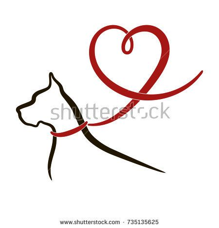 Dog Heart Black Outline Of Great Dane Dog With Red Lead In Shape