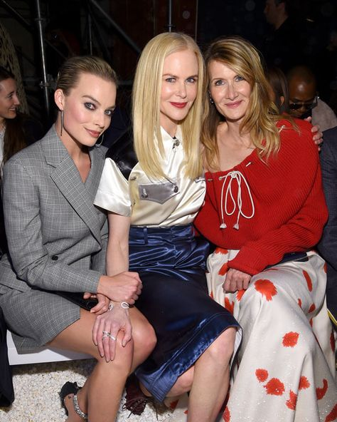 Actors Margot Robbie, Nicole Kidman, and Laura Dern attend the Calvin Klein Collection front row during New York Fashion Week.
