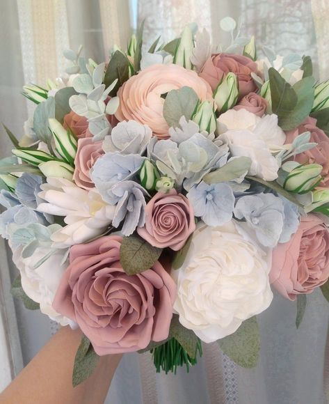Ranunculus – Home Decor Gardening Flowers Dusty Rose Wedding, Rose Wedding Bouquet, Dusty Blue Weddings, Pink Rose Bouquet, Blue Hydrangea Bouquet, Purple Wedding, White Ranunculus, Light Pink Bouquet, Garden Rose Bouquet