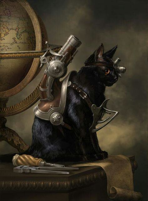 Steampunk art #cat #technology...i don't think my cat would cooperate for this but that would be so cool