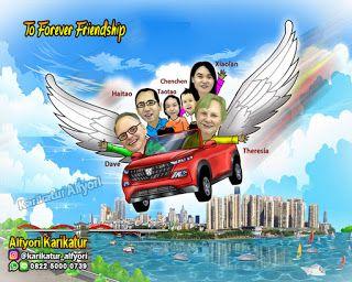 Jasa Karikatur Jasa Pembuatan Karikatur Karikatur Naik Mobil Terbang Karikatur Penerbangan Mobil