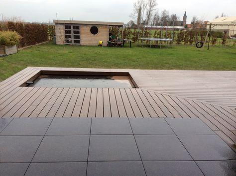 Terrasse pavés et bois avec bassin à lu0027angle terrasses Pinterest - terrasse pave et bois